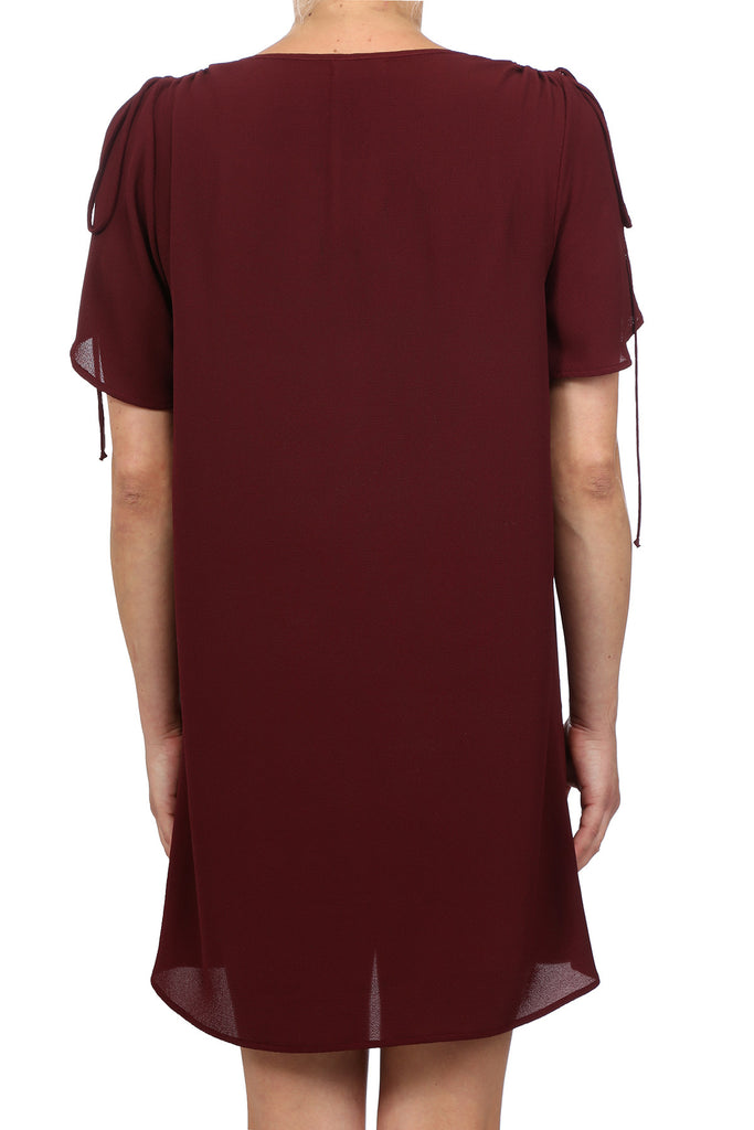 GYPSY BUTTERFLY SLEEVE DRESS - BURGUNDY