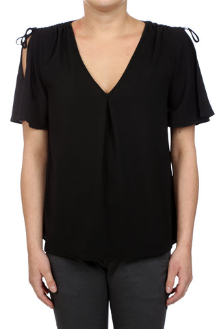 GYPSY BUTTERFLY TIE SLEEVED TOP - BLACK
