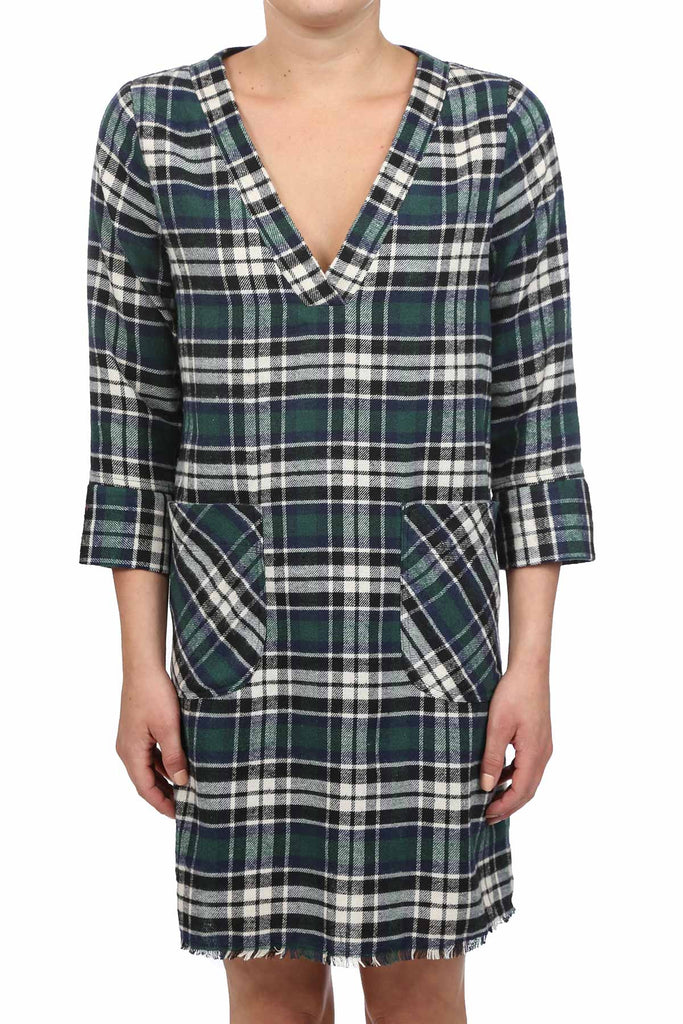 FLANNEL PLAID RAW HEM POCKET DRESS - GREEN