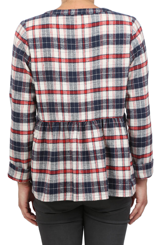USA PLAID PEPLUM PEASANT TOP - AS IS