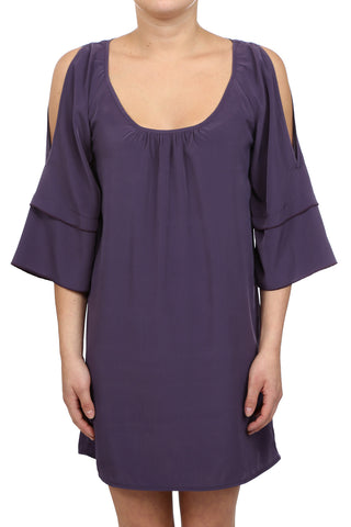 SCOOP NECK COLD SHOULDER DRESS - PURPLE