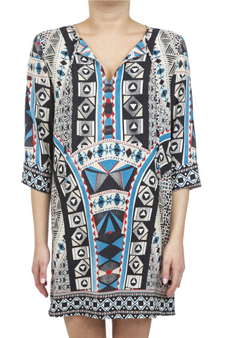 MEDALLION SHIFT DRESS - BLUE
