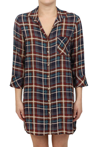 FLANNEL BUTTON DOWN POCKET SHIRT DRESS - AS IS