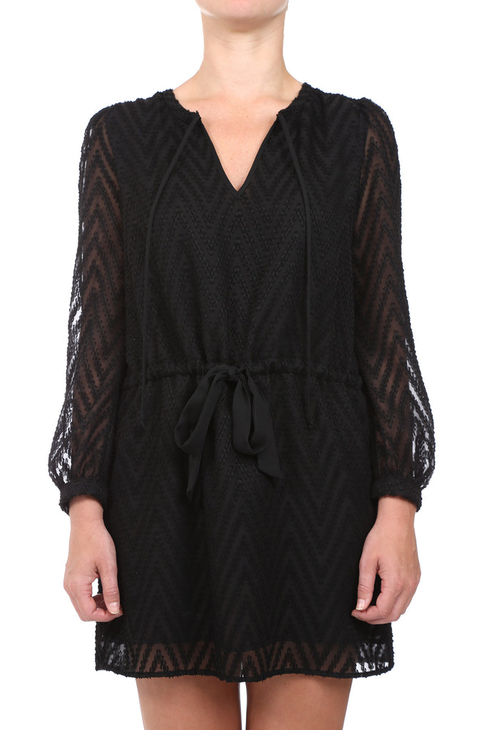 JACQUARD DRAWSTRING DRESS - BLACK