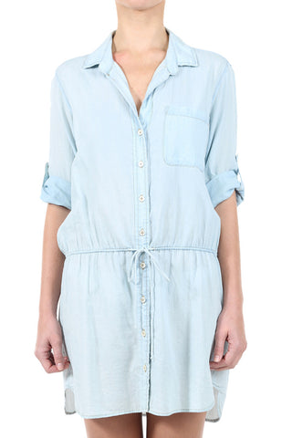 BUTTON DOWN CHAMBRAY DRAWSTRING DRESS - LIGHT
