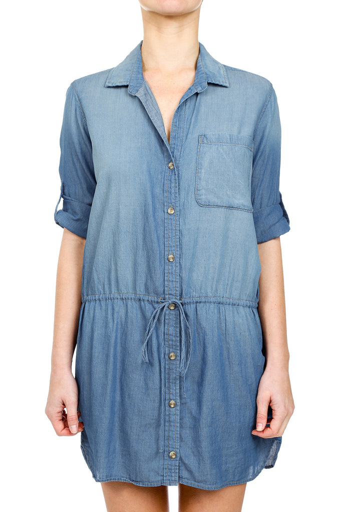 BUTTON DOWN CHAMBRAY DRAWSTRING DRESS - MEDIUM