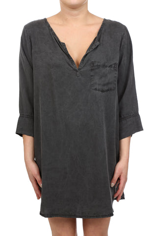 TENCEL PLACKET TUNIC DRESS - CHARCOAL