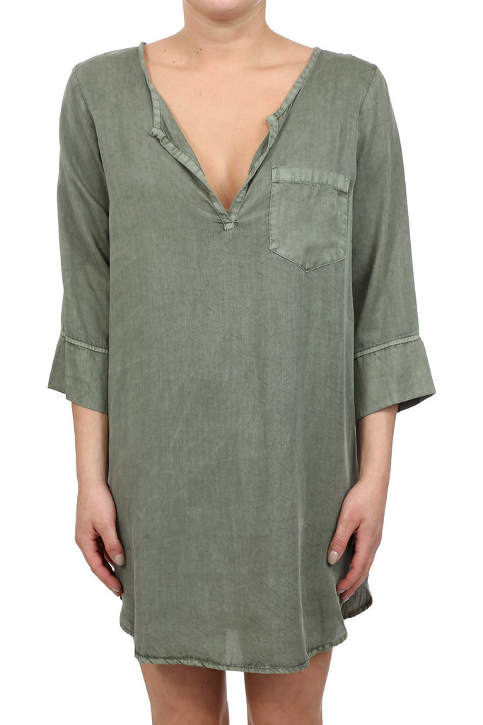 TENCEL PLACKET TUNIC DRESS - SAGE