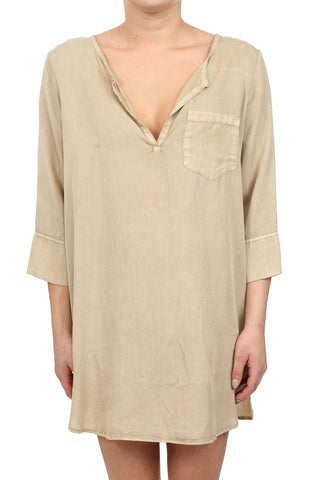 TENCEL PLACKET TUNIC DRESS - SAND