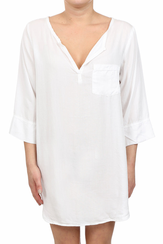 TENCEL PLACKET TUNIC DRESS - WHITE