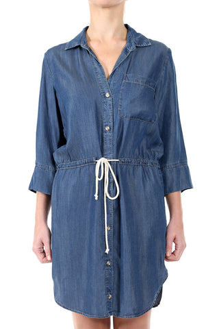 INDIGO TENCEL BUTTON DOWN DRAWSTRING DRESS - INDIGO