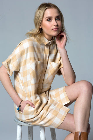 HARVEST PLAID BOYFRIEND POCKET SHIRT DRESS - YELLOW