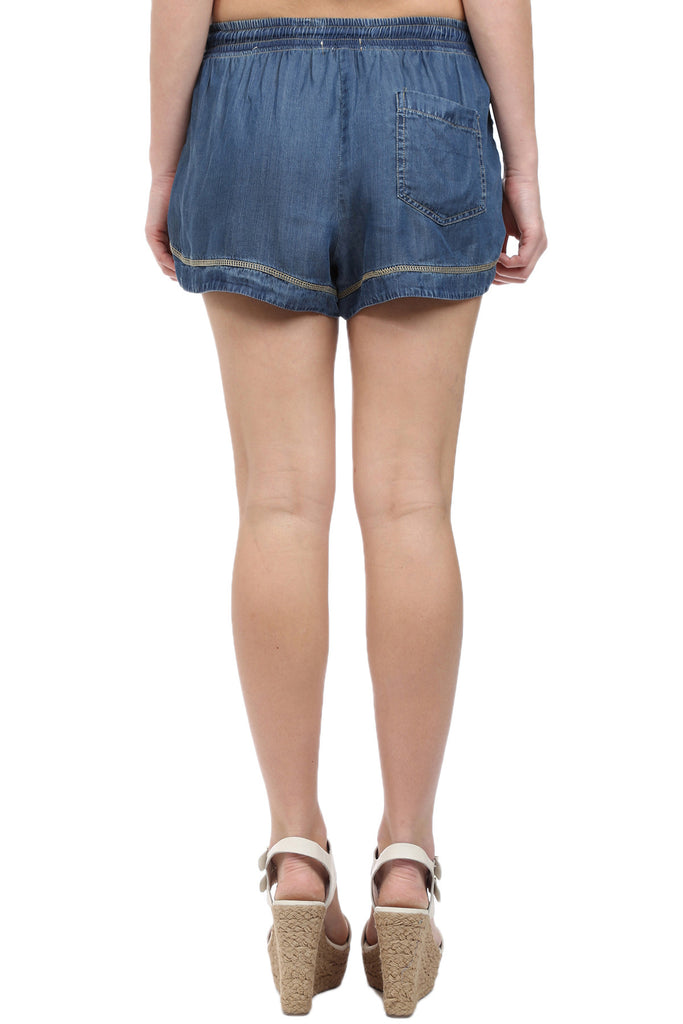 INDIGO TENCEL DRAWSTRING SHORT