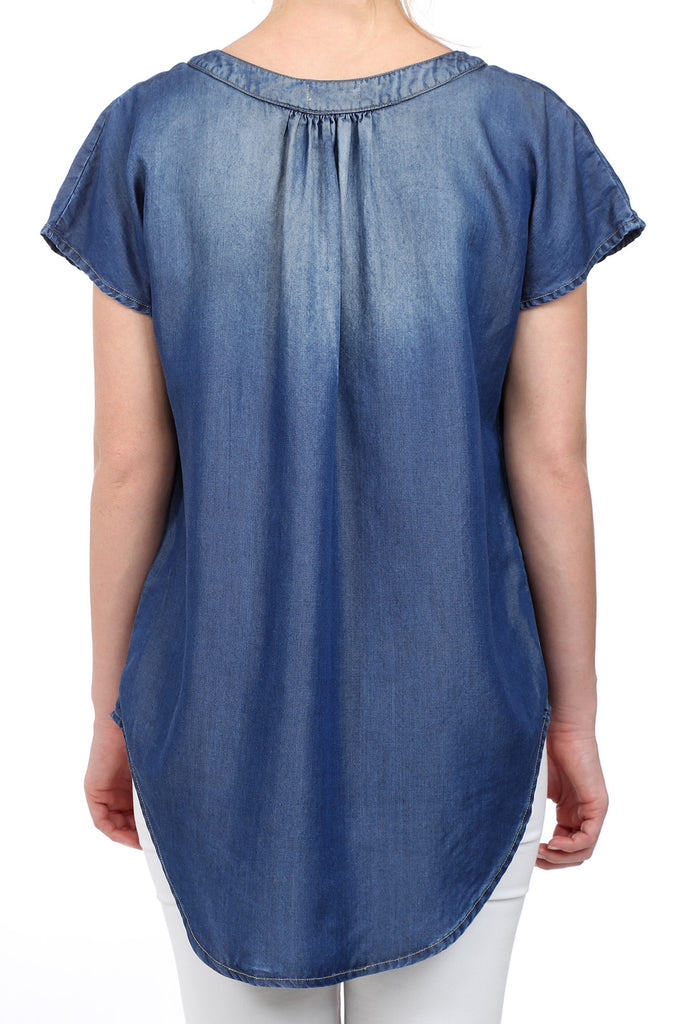 INDIGO TENCEL PLACKET BLOUSE - INDIGO
