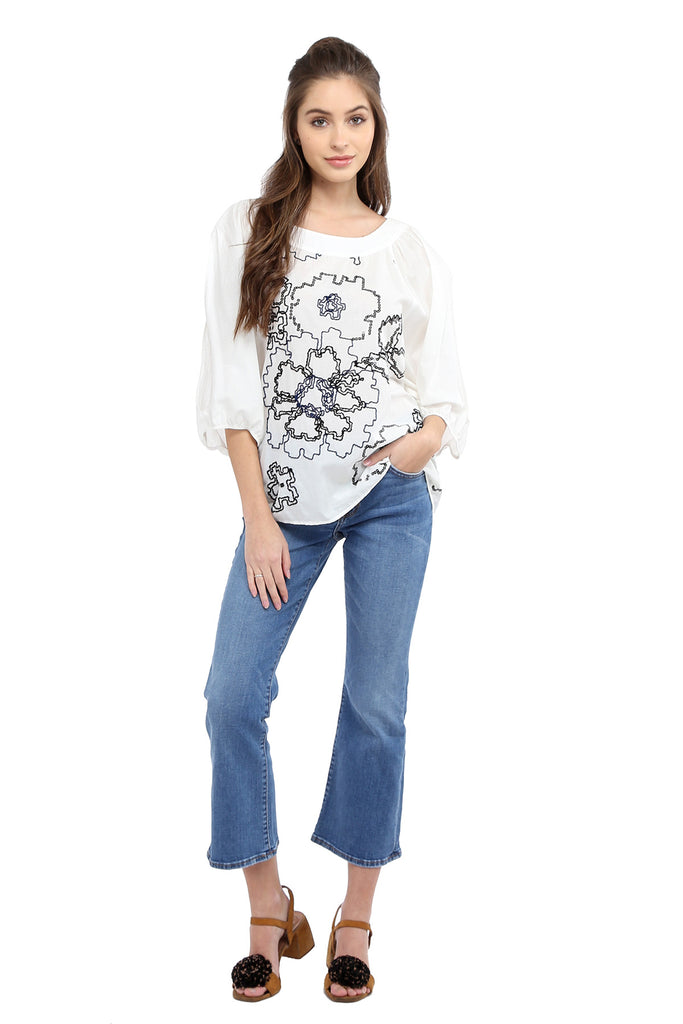 Embroidered Split Sleeves Top - White