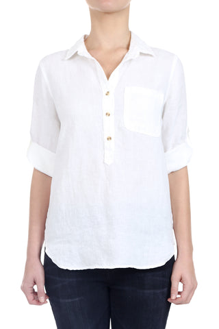 WASHED LINEN HENLEY SHIRT - WHITE