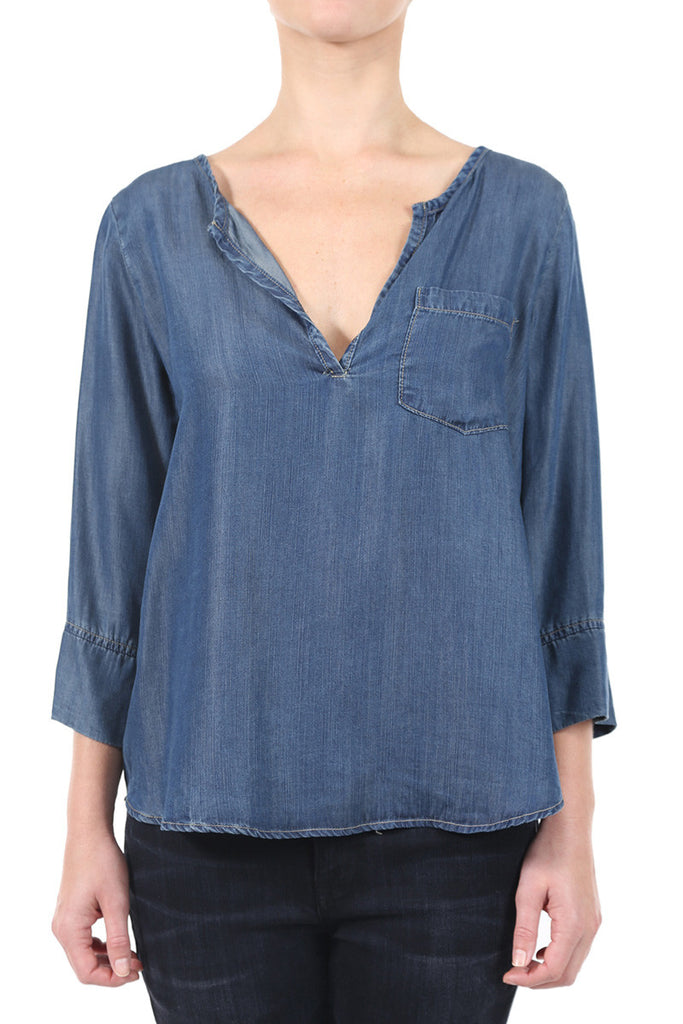 INDIGO TENCEL PLACKET POCKET TOP - INDIGO