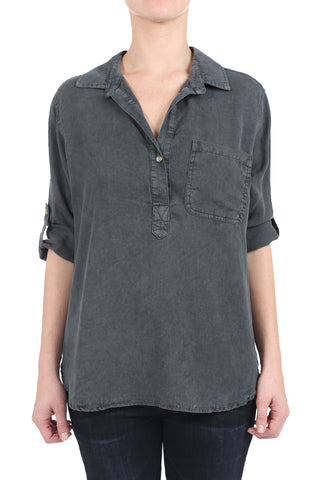 TENCEL HENLEY TAB SHIRT - BLACK