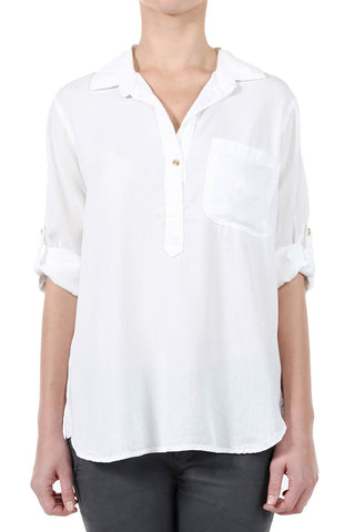 TENCEL HENLEY TAB SHIRT - WHITE
