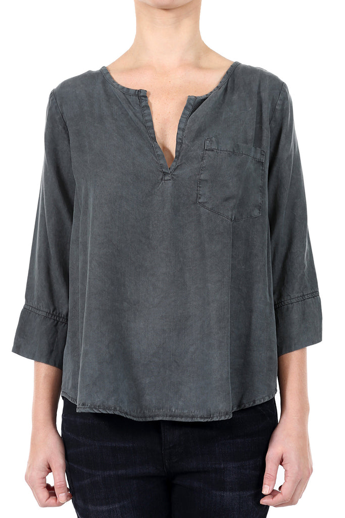 TENCEL PLACKET POCKET SHIRT - CHARCOAL