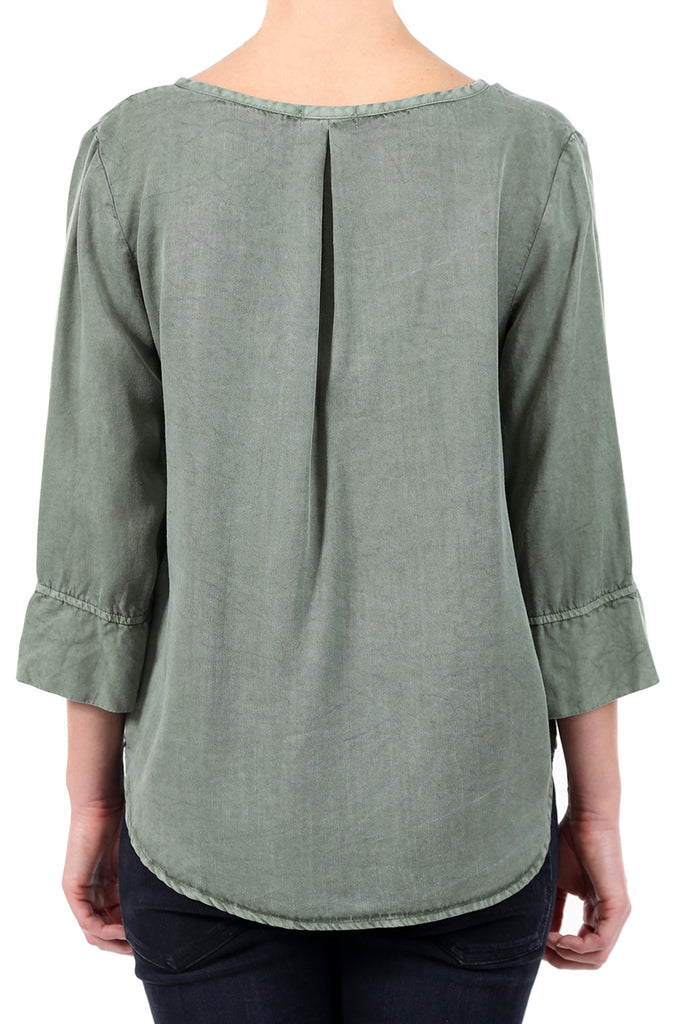 TENCEL PLACKET POCKET SHIRT - SAGE