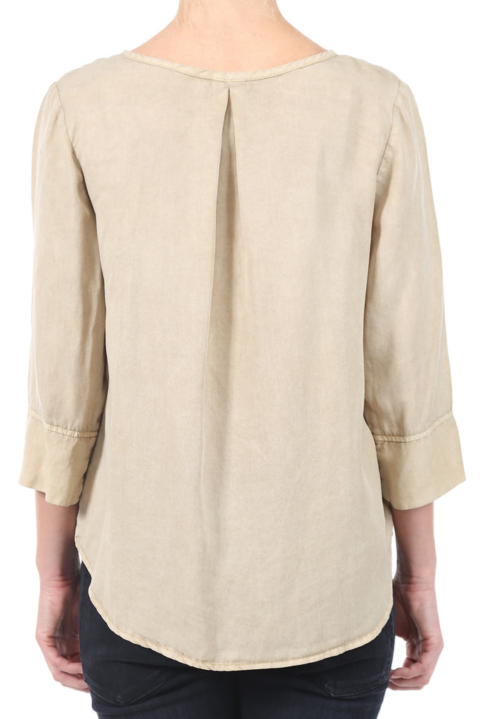 TENCEL PLACKET POCKET SHIRT - SAND