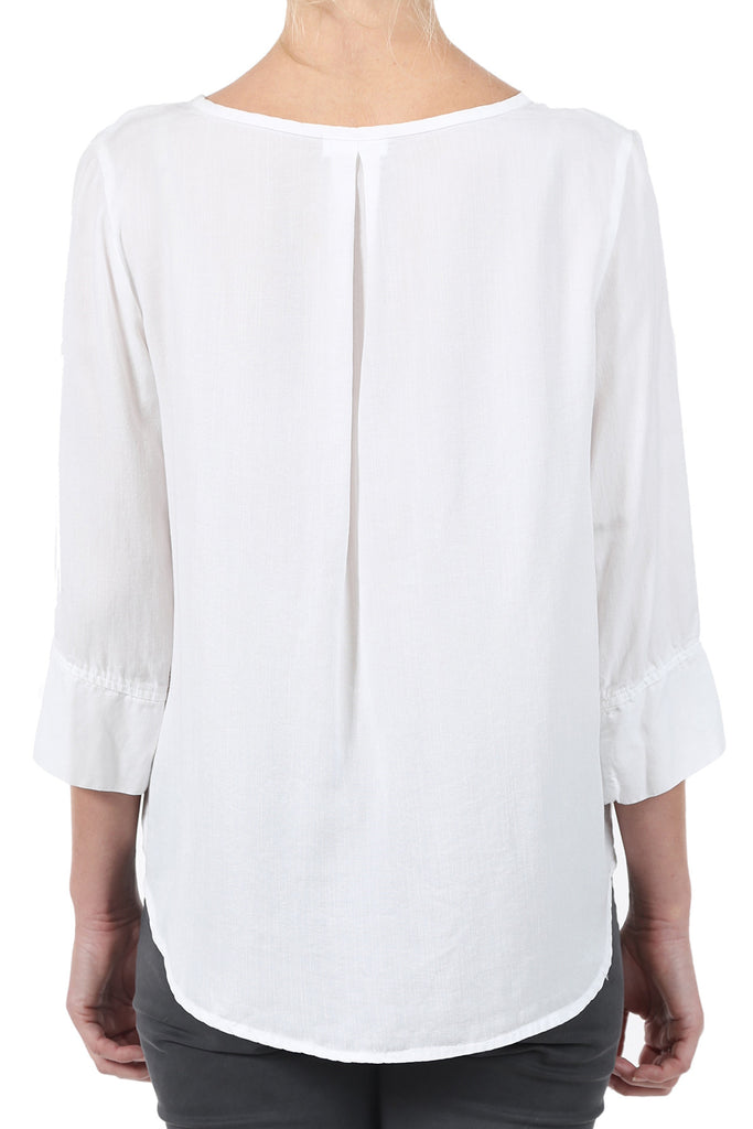 TENCEL PLACKET POCKET SHIRT - WHITE