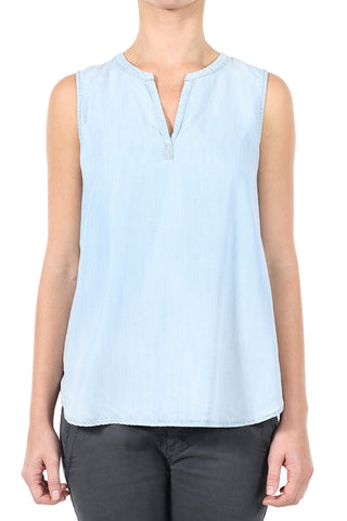 TENCEL PLACKET SLEEVELESS TOP - LIGHT