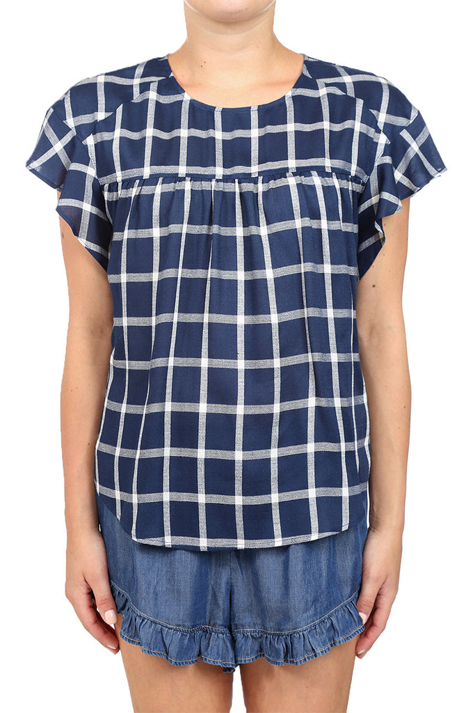 CHECKER RUFFLE BLOUSE - NAVY
