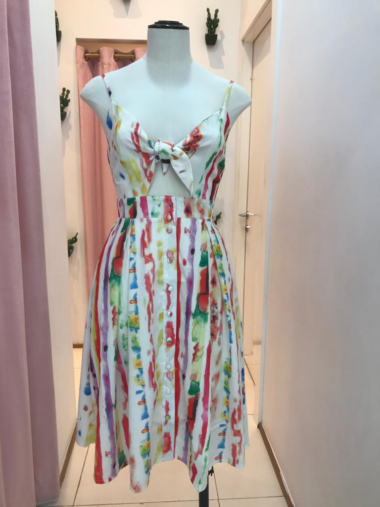 SUMMER WATERCOLOR MIDI DRESS