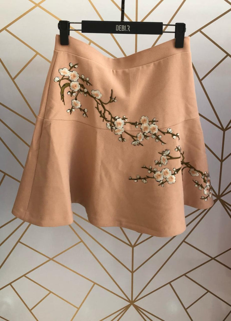 Floral Embroidery Frill Mini Skirt