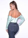 XANA MINT SATIN OFF SHOULDER CORSET TOP