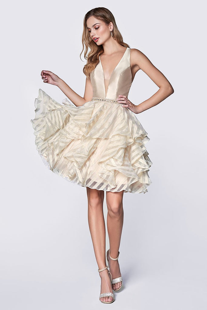 Champagne Ruffled Mini Dress