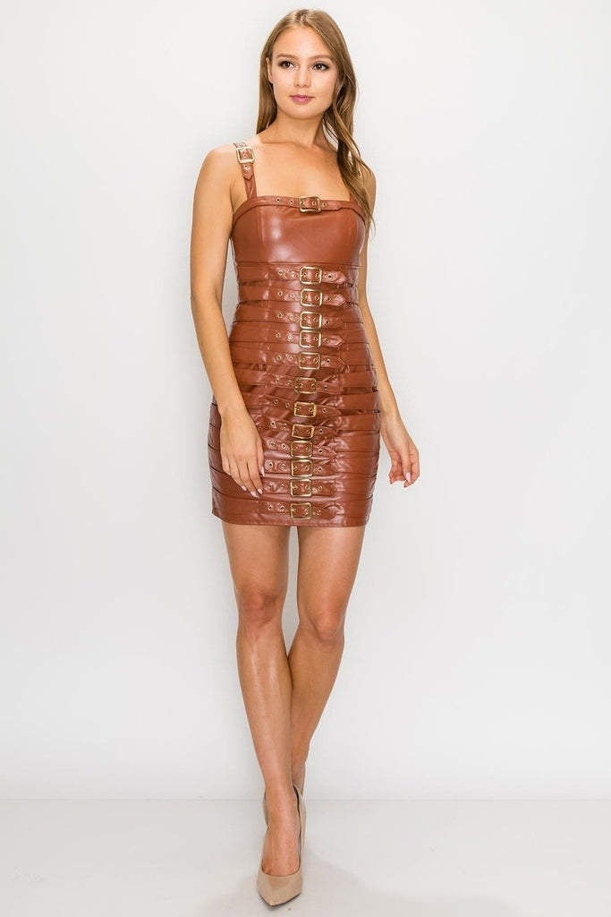 Cognac Leather Buckle Dress