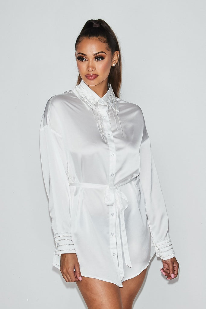 SATIN EMBELLISHED SHIRT DRESS