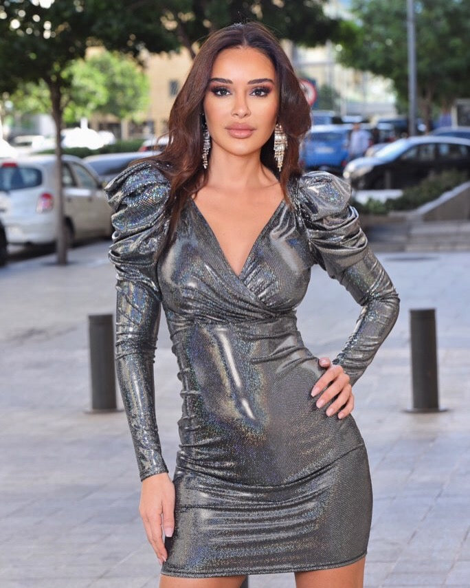 Metallic Puff Shoulder Silver Dress