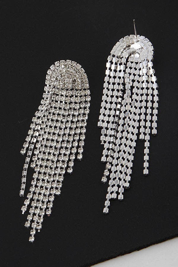 Rhinestone Flowing Curtain Earrings