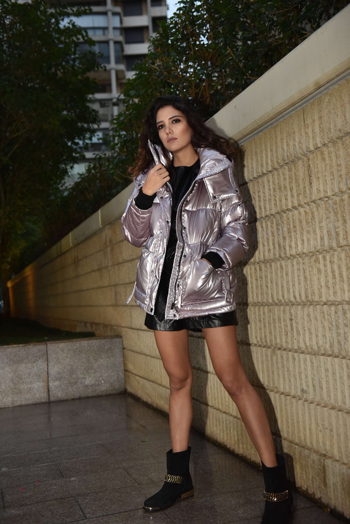 Zip Up Buckle Belted Hooded Leather Puffer Coat