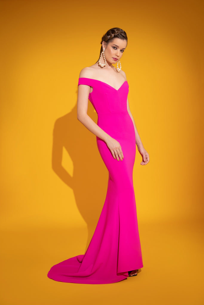 Hot Pink Off Shoulder Mermaid Dress