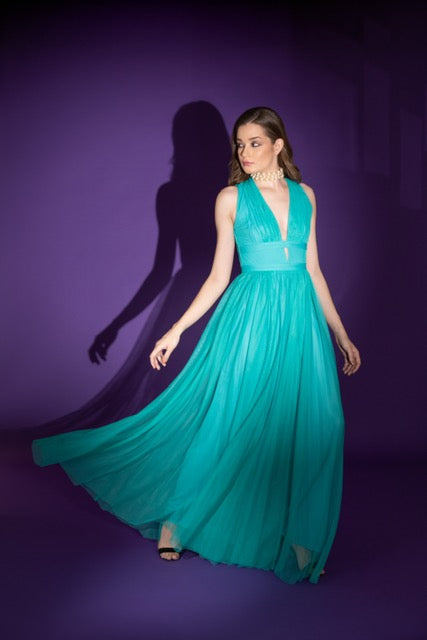 Turquoise Tulle Gown
