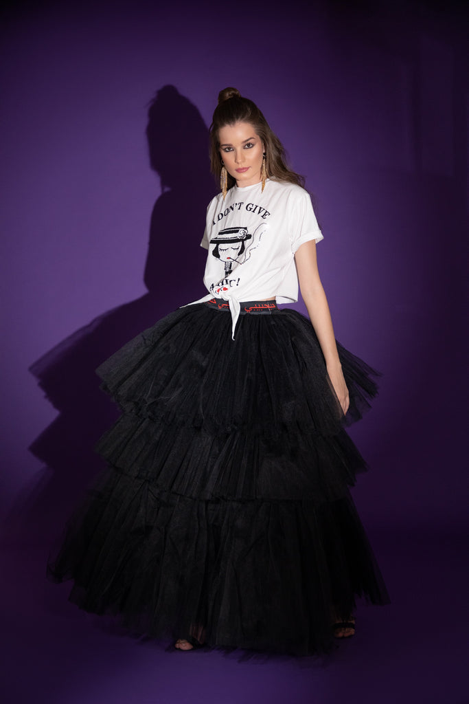 Habibi Tulle Layered Maxi Skirt