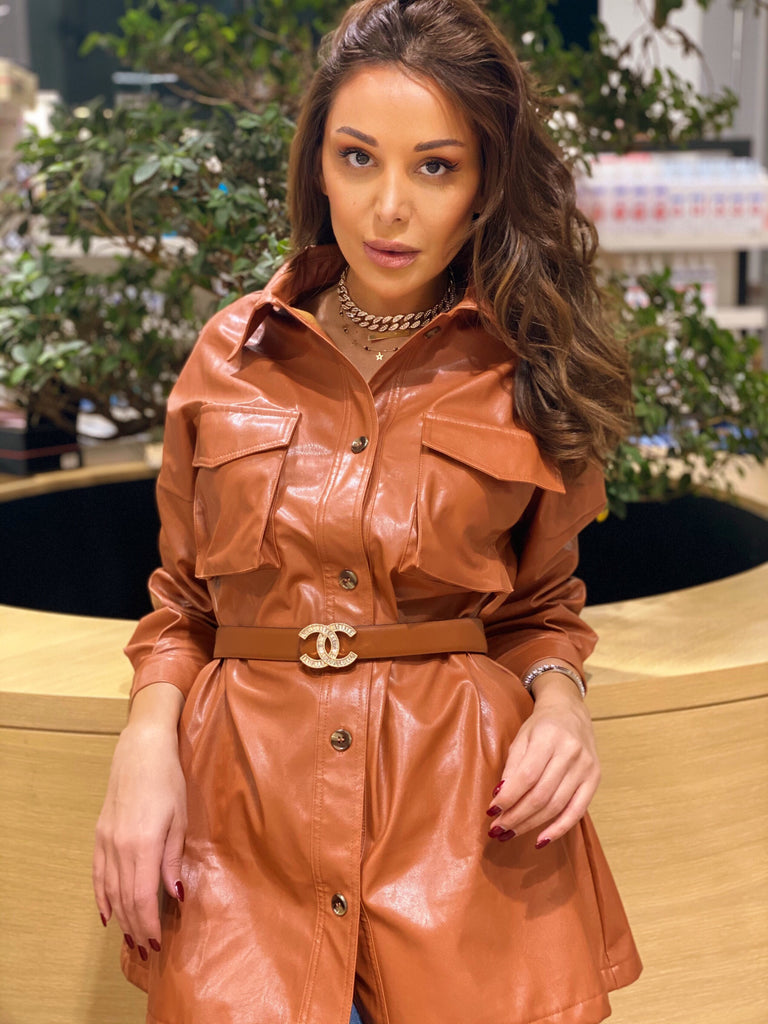 Belted Faux Leather Shirt with pockets