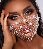 Fishnet Bridal Mask with swaroski and pearls