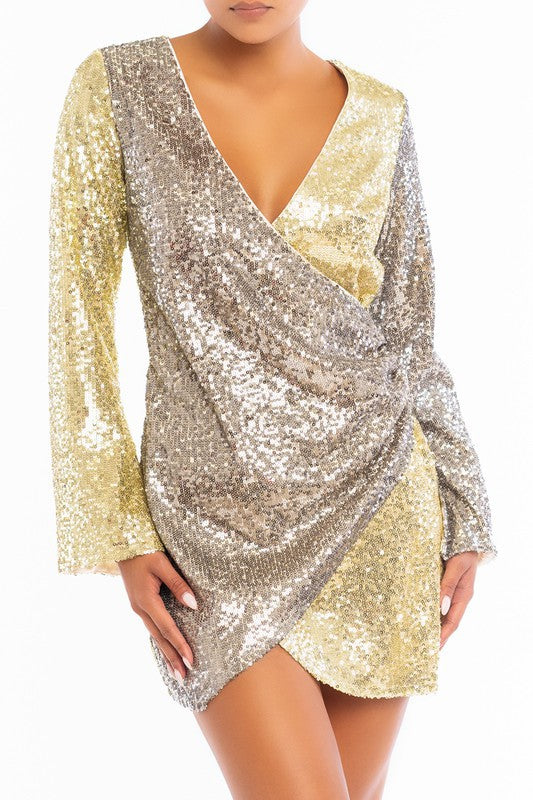 SILVER-GOLD Sequin Wrap Dress