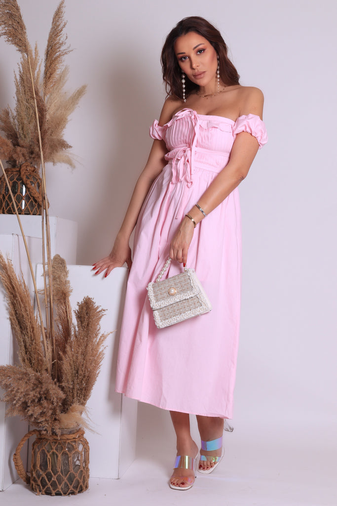 OFF SHOULDER KNOT FRONT DRESS
