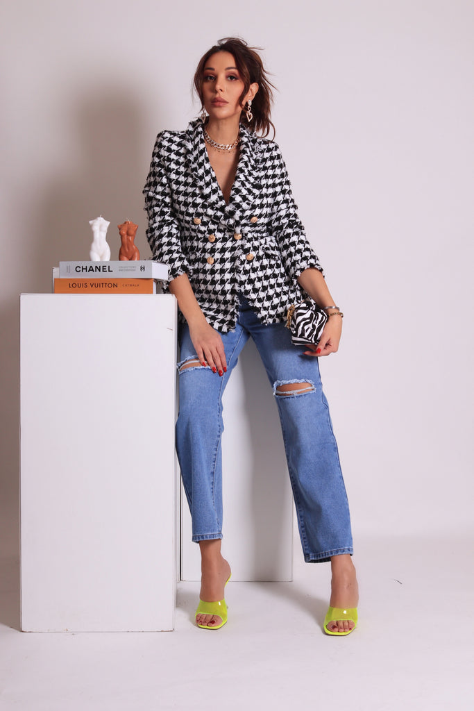 HOUNDSTOOTH DOUBLE BUTTON TWEED BLAZER