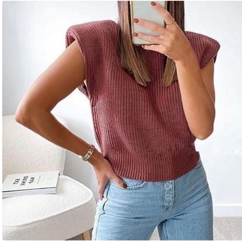 Padded Shoulder Knitted Vest Top