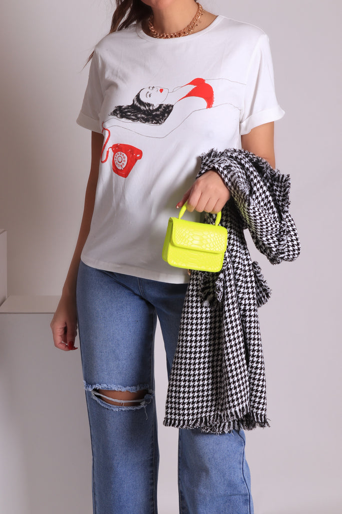 ROLLED CUFF GRAPHIC TEE