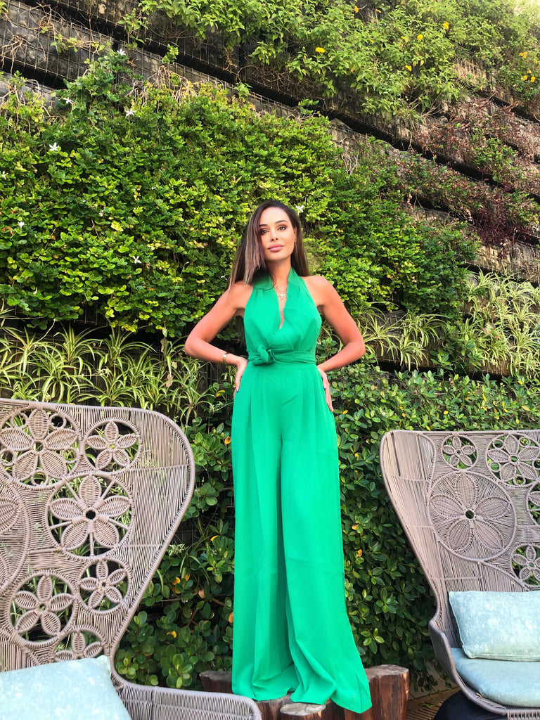 GREEN HALTERNECK WIDE LEG JUMPSUIT