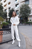 WHITE PULLOVER AND JOGGER PANTS SET